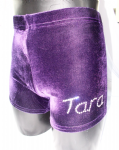 Purple Velour personalised shorts, name on leg